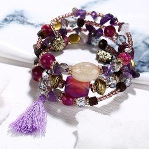 Jewelry - Handmade Beaded Boho Bracelet Purple Gold Pink